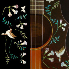 "Assorted Plants and Hummingbird decals in Brown ""Abalone"" - JIS-121"