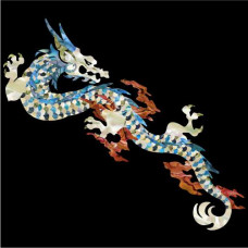 Large inlay decal for Guitar or Ukulele - Dragon in White Pearl - JIS-122