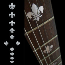 Fret marker decals for Guitar - Fleur-de-lis in Metallic Silver - JIS-83