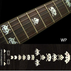 Fret marker decals for Guitar - Space Invaders in Pearly Silver - JIS-85