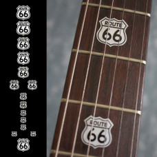 Fret marker decals for Guitar - Route 66 in Metallic Silver - JIS-88